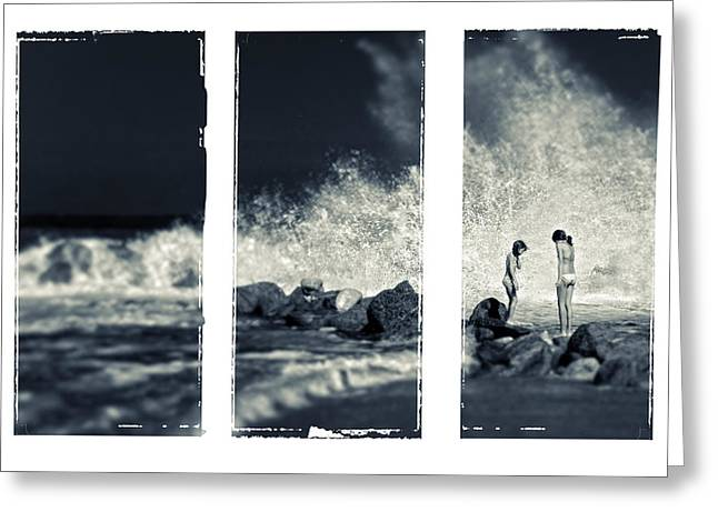 Split Toning Greeting Cards - Big wave triptych Greeting Card by Silvia Ganora