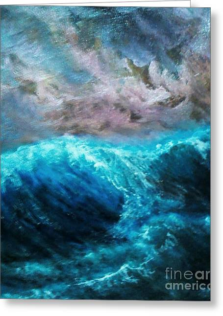 Abstract Waves Greeting Cards - Big wave ,view from the rope deck. Greeting Card by Paul Rowe