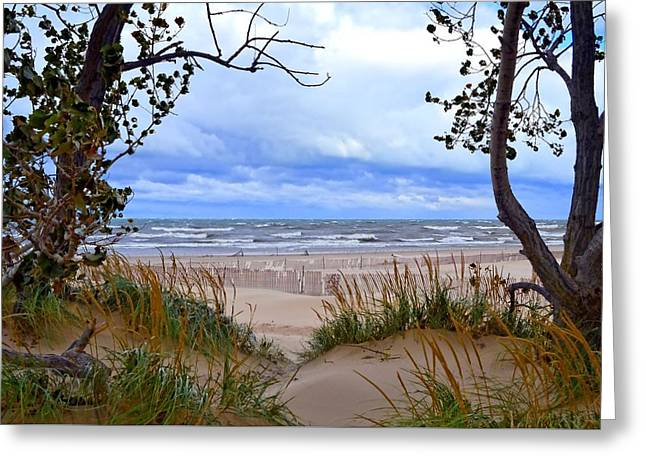 Photograph Greeting Card featuring the photograph Big Waves On Lake Michigan 2.0 by Michelle Calkins