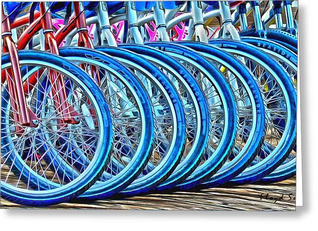 Rack Paintings Greeting Cards - Big Wheels Psychedelic  Greeting Card by Floyd Snyder