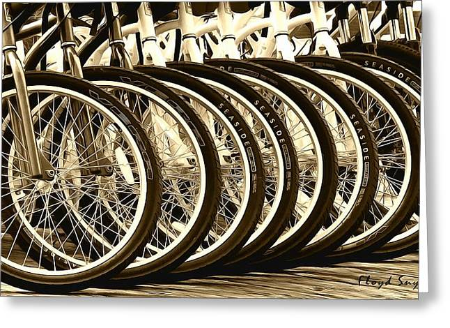 Rack Paintings Greeting Cards - Big Wheels Sepia Greeting Card by Floyd Snyder