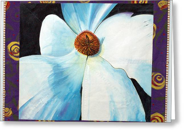 Best Sellers -  - White Tapestries - Textiles Greeting Cards - Big White Flower Greeting Card by Grace Matthews