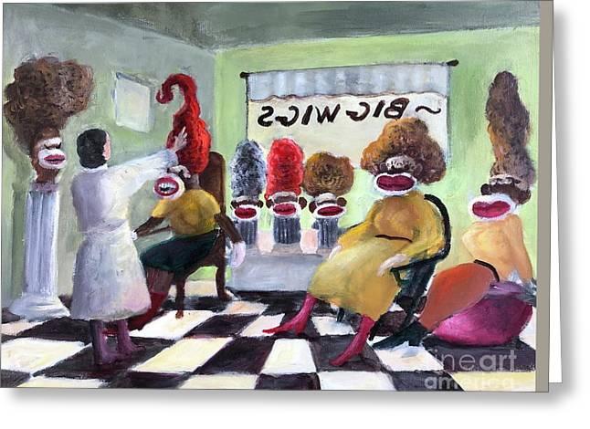 Big Wigs And False Teeth Greeting Card by Randy Burns
