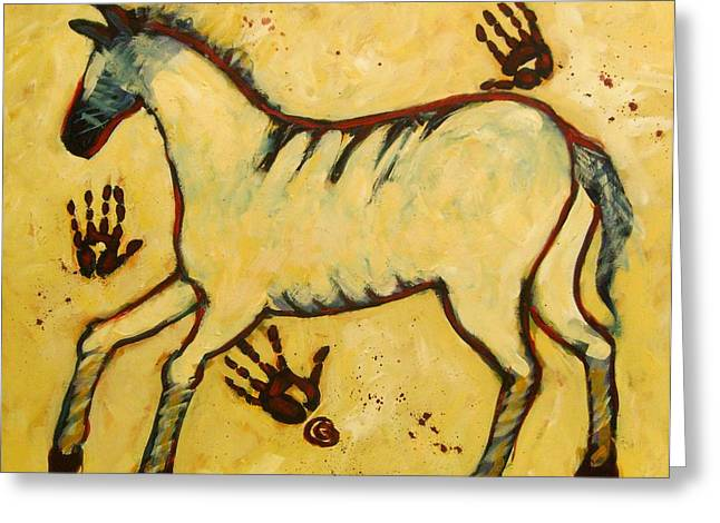Outsider Art Paintings Greeting Cards - Big Yellow Lascaux Horse Greeting Card by Carol Suzanne Niebuhr