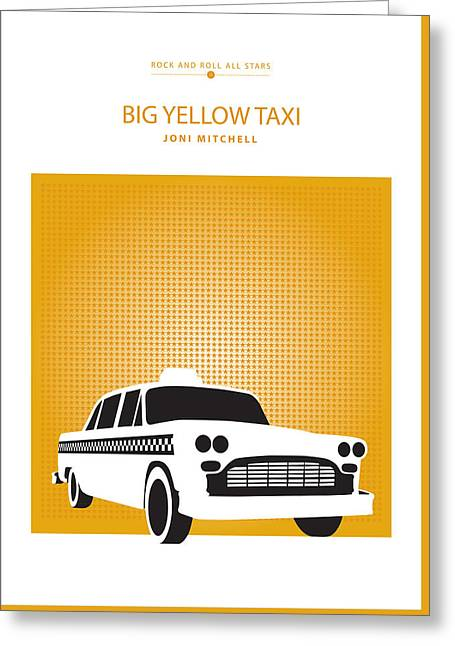 Posters Greeting Cards - Big Yellow Taxi -- Joni Michel Greeting Card by David Davies