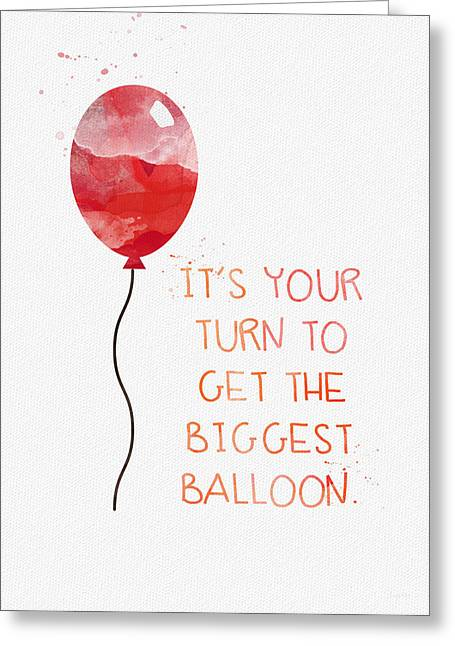 Red Balloons Greeting Cards - Biggest Balloon- card Greeting Card by Linda Woods