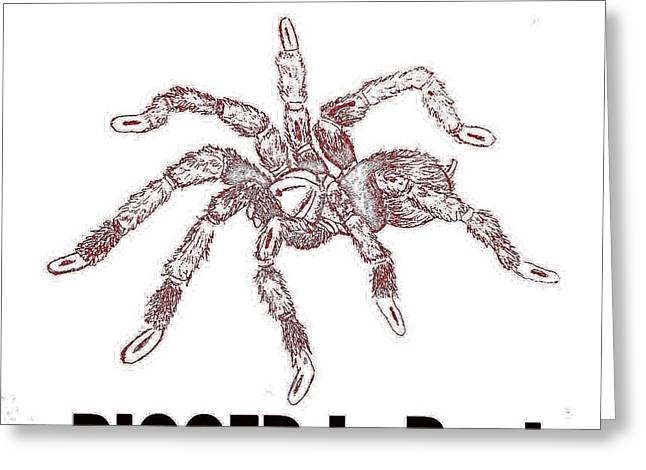 Wild Life Drawings Greeting Cards - Biggest Spider Greeting Card by Jacquelyn Coppernoll