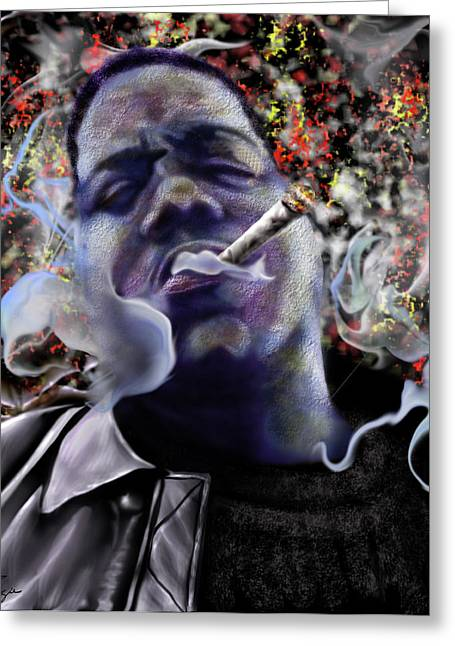 Biggie - Burning Lights 5 Greeting Card by Reggie Duffie