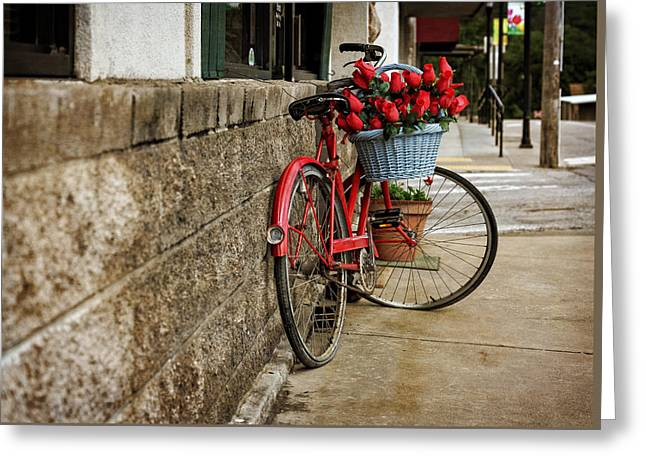 Arkansas Greeting Cards - Bike and Red Roses Greeting Card by Tony  Colvin