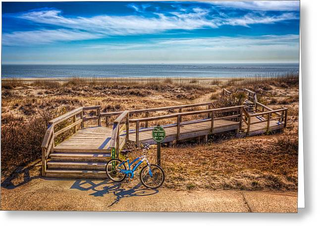 On The Beach Greeting Cards - Bike at the Boardwalk Greeting Card by Debra and Dave Vanderlaan