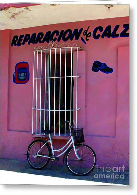 Shoe Repair Greeting Cards - Bike at the Shoe Shop by Darian Day Greeting Card by Olden Mexico