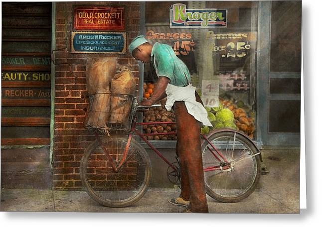 Teen Town Greeting Cards - Bike - Delivering groceries 1938 Greeting Card by Mike Savad