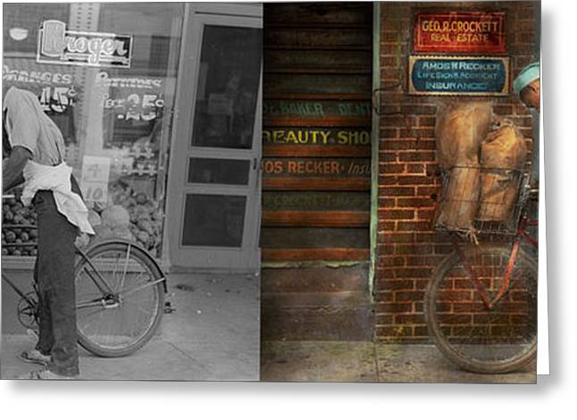 African-american Greeting Cards - Bike - Delivering groceries 1938 - Side by Side Greeting Card by Mike Savad