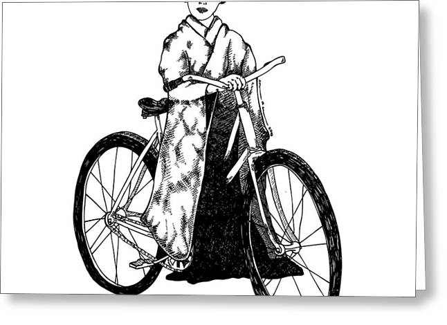 Ladies Bike Greeting Cards - Bike Geisha Greeting Card by Karl Addison