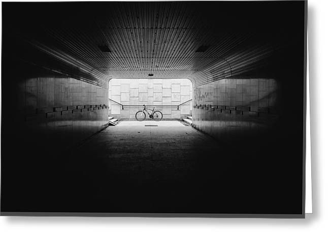 Light At The End Of The Tunnel Greeting Cards - Bike In The Light Greeting Card by Kamil Kisiela