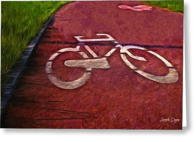 Bike Lane - Da Greeting Card by Leonardo Digenio