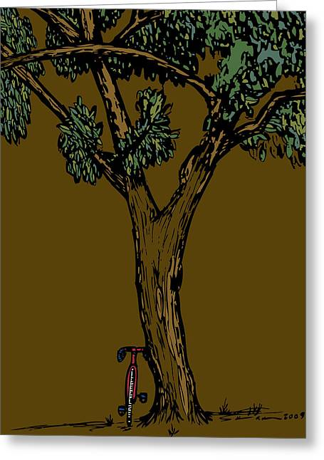 Bike Next To Tree Greeting Card by Karl Addison