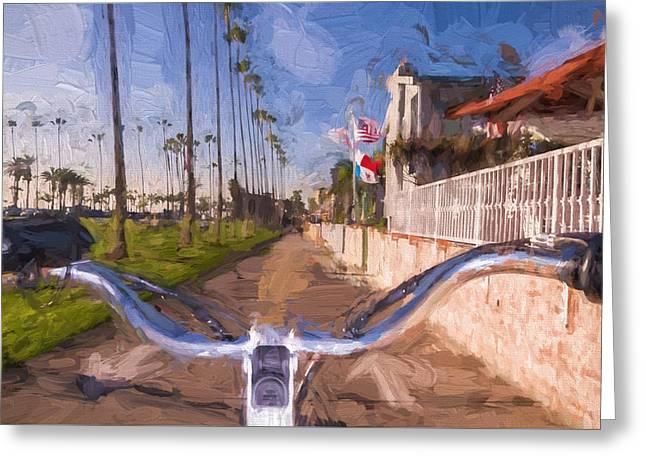 Ocean Art Photos Greeting Cards - Bike on Huntington Boardwalk Greeting Card by Vivian Frerichs