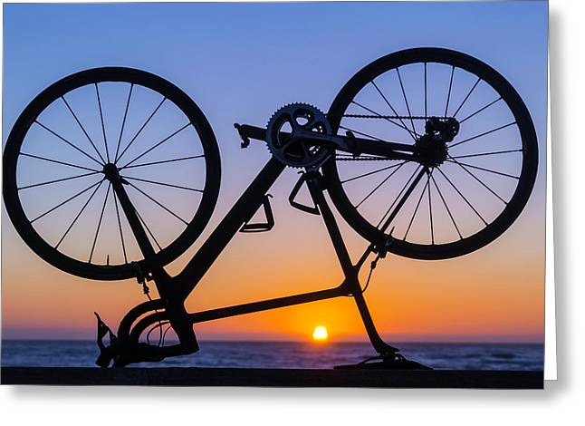 Bike On Sea Wall At Sunset Greeting Card by Garry Gay