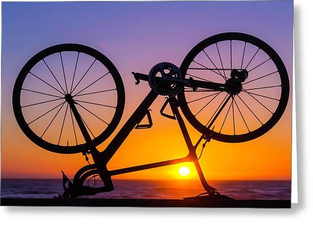 Bike On Seawall Greeting Card by Garry Gay