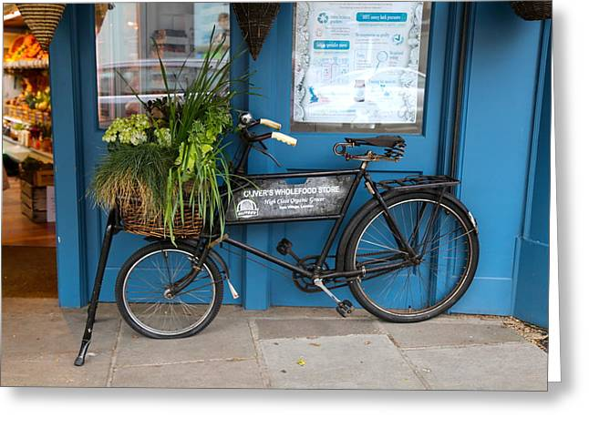 Grocery Store Greeting Cards - Bike Planter in Kew Greeting Card by Peg Owens