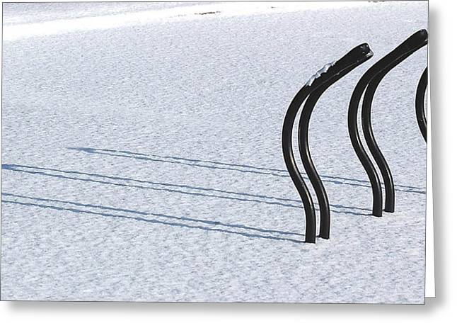 Bicycling Greeting Cards - Bike Racks in Snow Greeting Card by Steve Somerville
