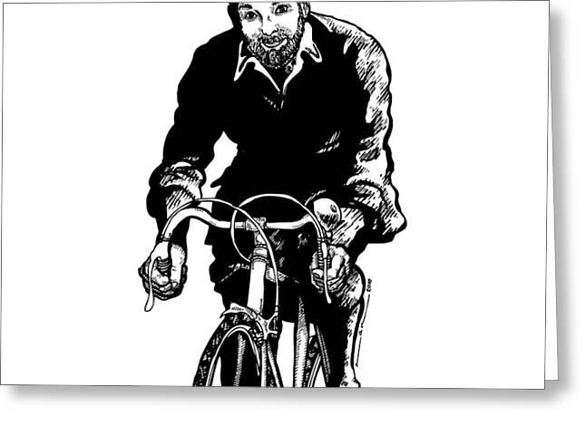 Bike Riding Drawings Greeting Cards - Bike Rider Greeting Card by Karl Addison