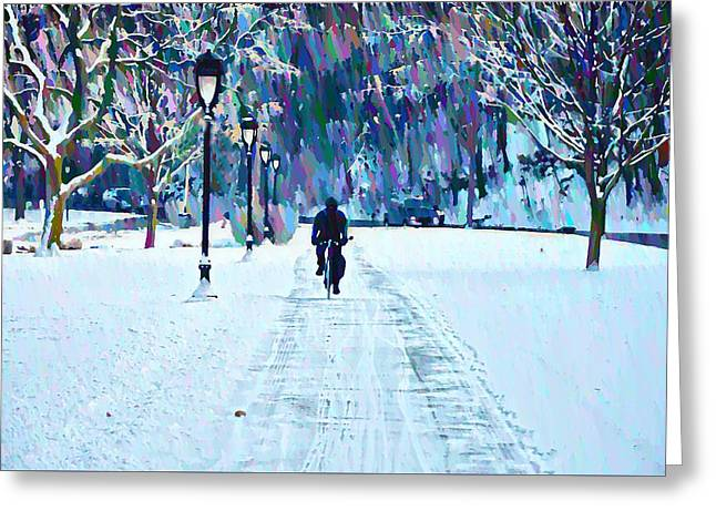 Greeting Cards - Bike Riding in the Snow Greeting Card by Bill Cannon