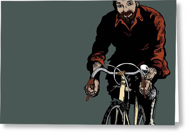Bike Riding Drawings Greeting Cards - Bike Riding with Color Greeting Card by Karl Addison