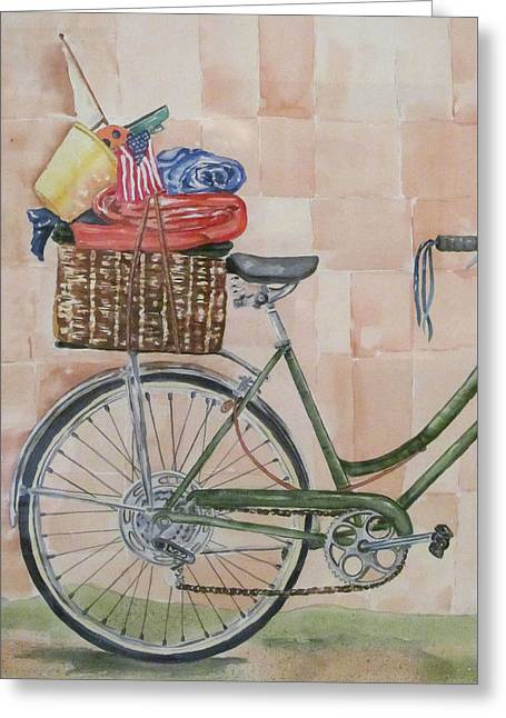 4th July Paintings Greeting Cards - Bike to the Beach Greeting Card by Kate Presentati