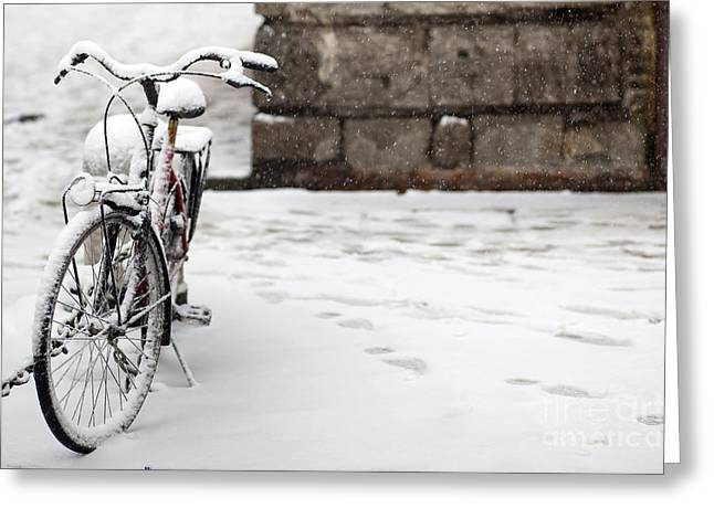 Police Art Greeting Cards - Bike Under the Snow Greeting Card by Andre Goncalves
