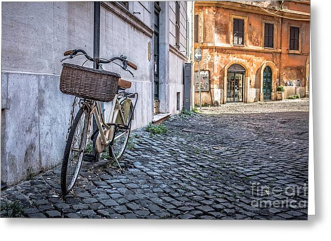 Cobblestone Greeting Cards - Bike with basket on streets of Rome Greeting Card by Edward Fielding