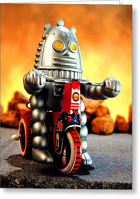 Tricycle Greeting Cards - Biker Bot Greeting Card by L S Keely