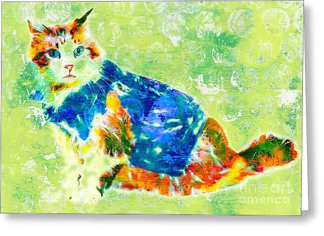 Printmaking Greeting Cards - Biker Cat Greeting Card by Laura L Leatherwood