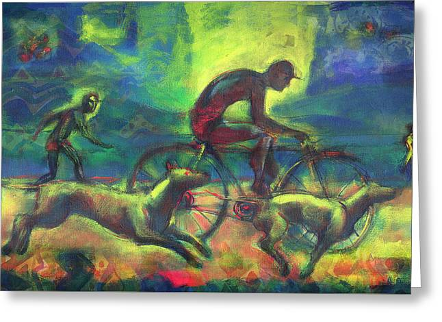 Runner Mixed Media Greeting Cards - Biker Greeting Card by Nato  Gomes