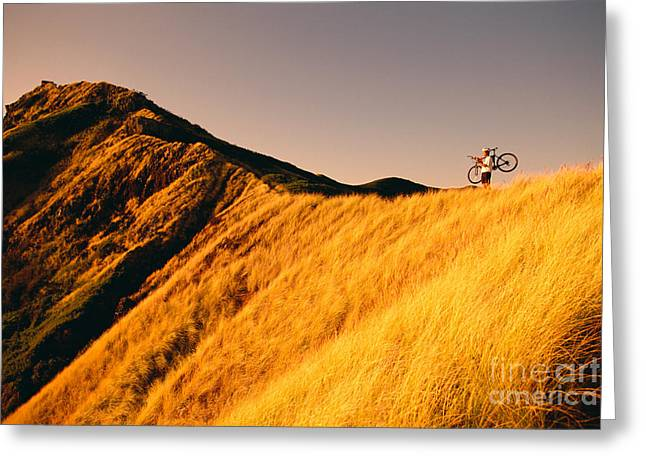 Athletic Sport Greeting Cards - Biker On The Ridge Greeting Card by Dana Edmunds - Printscapes
