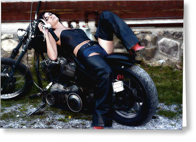 Bruster Greeting Cards - Bikes and Babes Greeting Card by Clayton Bruster
