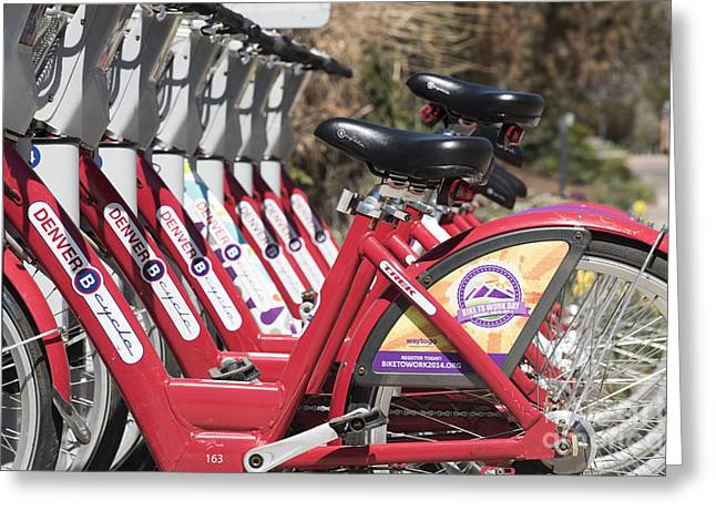 Athletic Greeting Cards - Bikes for Rent Greeting Card by Juli Scalzi