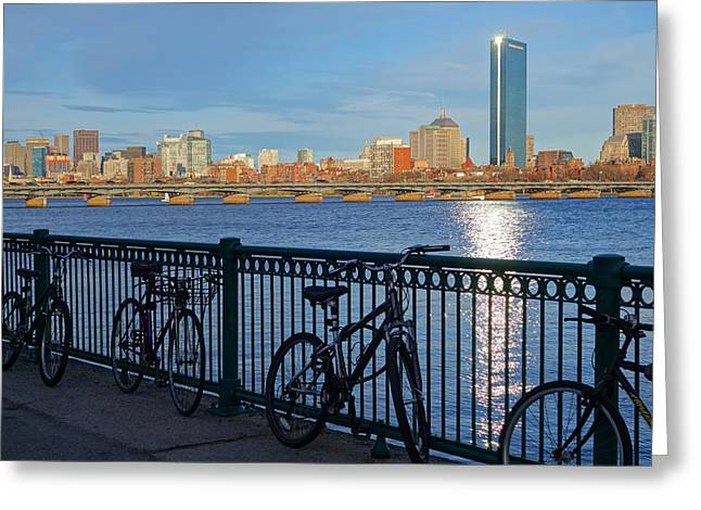 Charles River Greeting Cards - Bikes on the Charles River Greeting Card by Toby McGuire