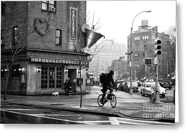 Biking In Greenwich Village Greeting Card by John Rizzuto