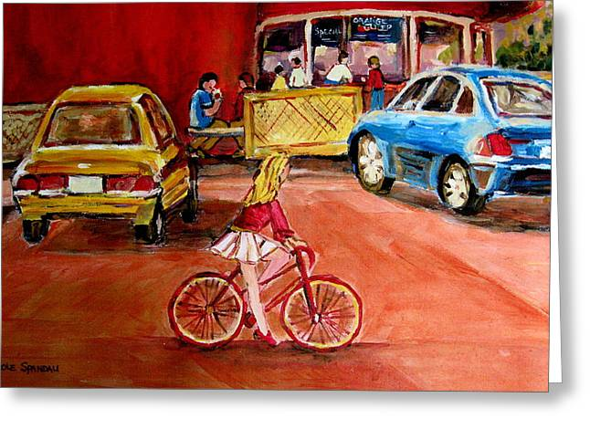 A Hot Summer Day Greeting Cards - Biking To The Orange Julep Greeting Card by Carole Spandau