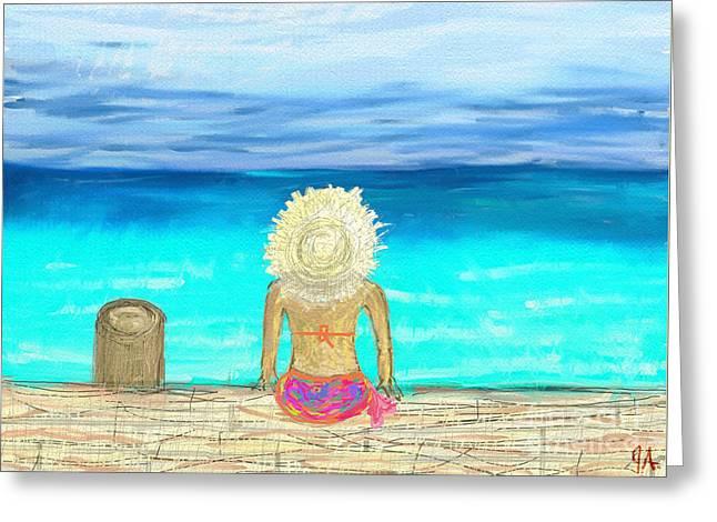Bikini On The Pier Greeting Card by Jeremy Aiyadurai