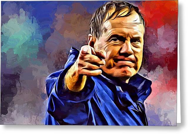 Bill Belichick Greeting Card by Scott Wallace