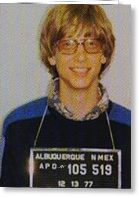 Bill Gates Mug Shot Vertical Color Greeting Card by Tony Rubino