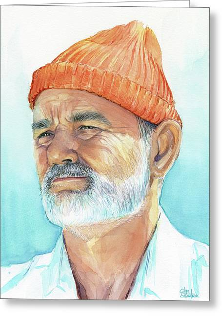 Bill Murray As Steve Zissou Of Life Aquatic Greeting Card by Olga Shvartsur