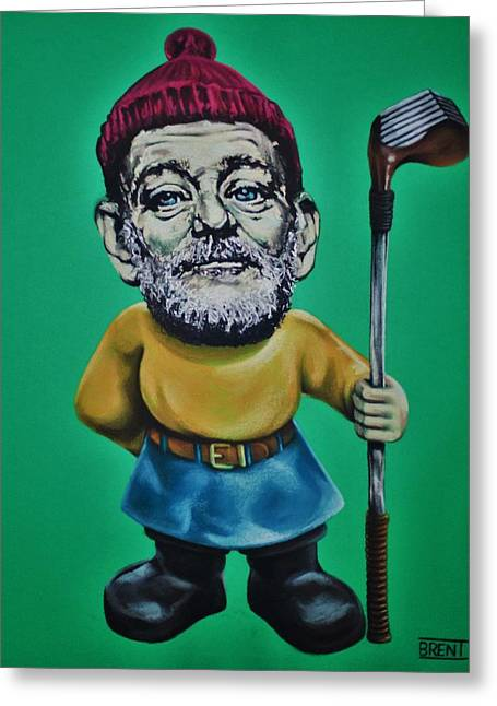 Shack Pastels Greeting Cards - Bill Murray Golf Gnome Greeting Card by Brent Andrew Doty