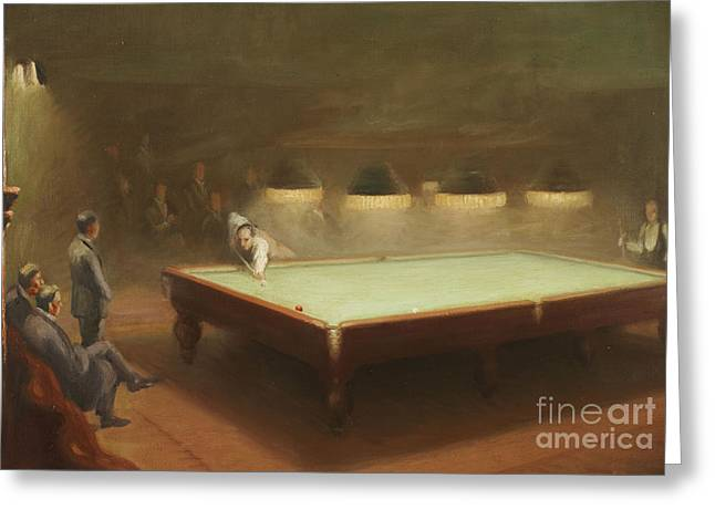 1930s Paintings Greeting Cards - Billiard Match at Thurston Greeting Card by English School