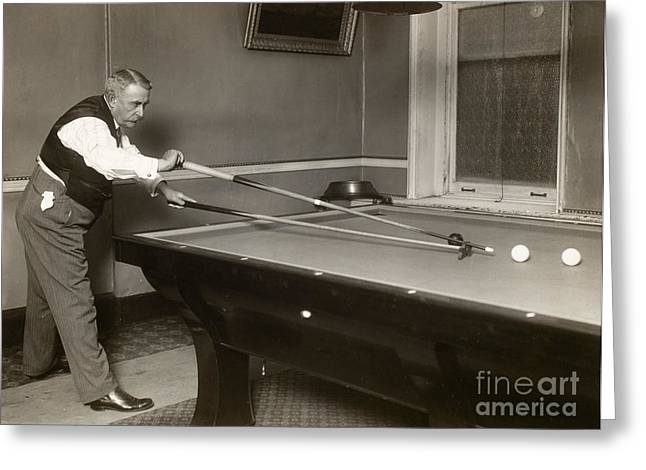 1907 Greeting Cards - BILLIARD PLAYER, c1907 Greeting Card by Granger