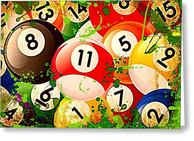 Billiards Digital Greeting Cards - Billiards Collage Greeting Card by David G Paul