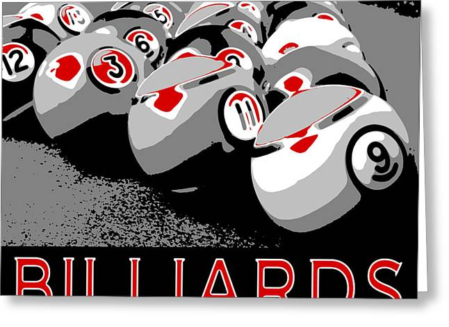Billiards Digital Greeting Cards - Billiards Pop Art Greeting Card by David G Paul